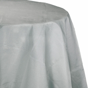 Touch of Color Shimmering Silver Octy-Round Paper Tablecloths in quantities of 1 / pkg, 12 pkgs / case