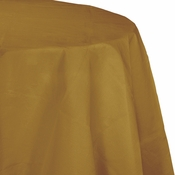 Touch of Color Glittering Gold Octy-Round Paper Tablecloths in quantities of 1 / pkg, 12 pkgs / case