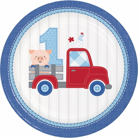 Farmhouse 1st Birthday Boy Dinner Plates 96 ct