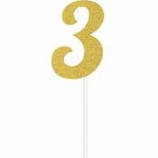 Gold Glitter #3 Cake Toppers 12 ct