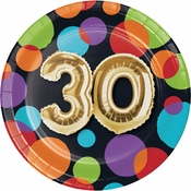 Balloons 30th Birthday Dessert Plates 96 ct