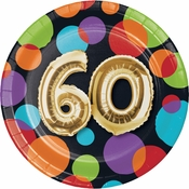 Balloons 60th Birthday Dessert Plates 96 ct