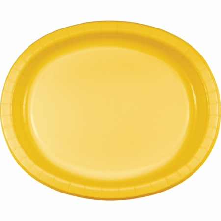 School Bus Yellow Oval Platters sold in quantities of 8 / pkg, 12 pkgs / case.