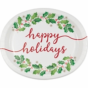 Seasons Greetings Oval Plates 96 ct