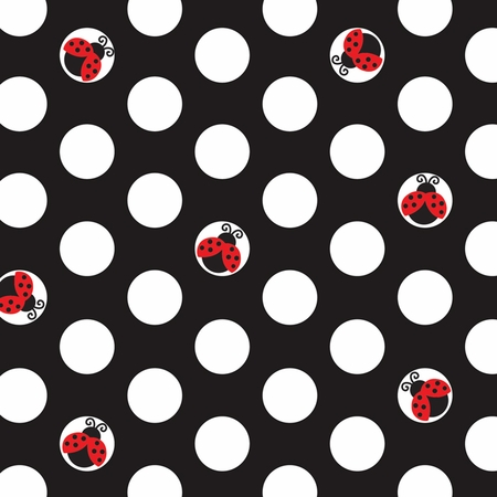 Red and black Ladybug Fancy Beverage Napkins sold in quantities of 16 / pkg, 12 pkgs / case
