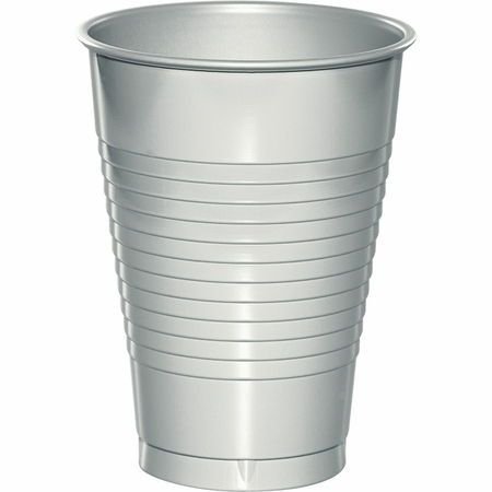 Touch of Color Shimmering Silver 12 oz Plastic Cups in quantities of 20 / pkg, 12 pkgs / case