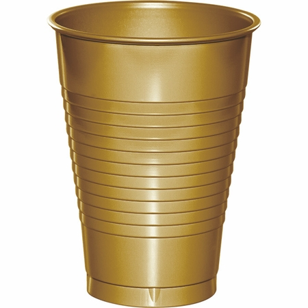 Touch of Color Glittering Gold 12 oz Plastic Cups in quantities of 20 / pkg, 12 pkgs / case