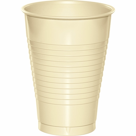 Touch of Color Ivory 12 oz Plastic Cups in quantities of 20 / pkg, 12 pkgs / case