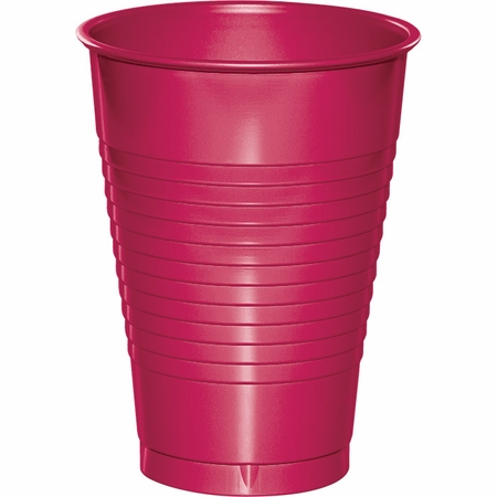 Touch of Color Hot Magenta 12 oz Plastic Cups in quantities of 20 / pkg, 12 pkgs / case