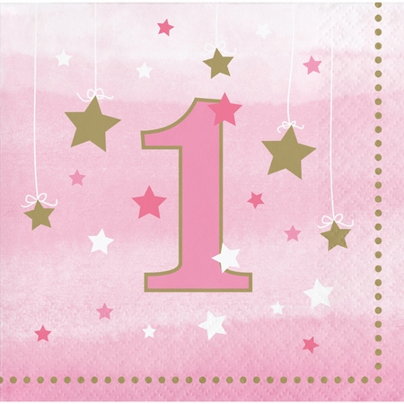 One Little Star Girl 1st Birthday Beverage Napkins 192 ct