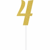 Gold Glitter #4 Cake Toppers 12 ct