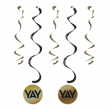 Black and Gold Sequin Dizzy Danglers 60 ct