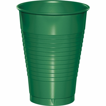 Touch of Color Emerald Green 12 oz Plastic Cups in quantities of 20 / pkg, 12 pkgs / case