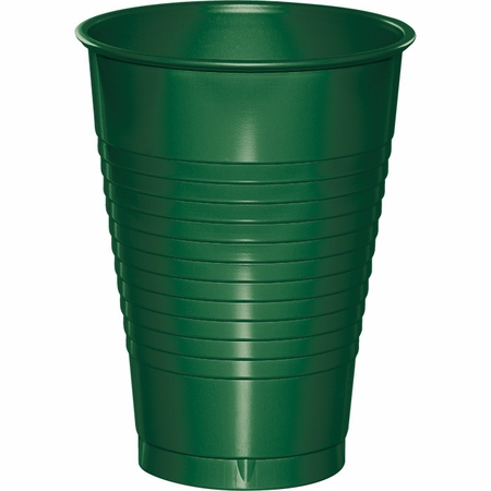Touch of Color Hunter Green 12 oz Plastic Cups in quantities of 20 / pkg, 12 pkgs / case