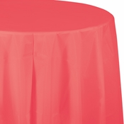 Coral Round Plastic Tablecloths