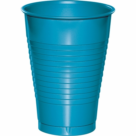 Touch of Color Turquoise 12 oz Plastic Cups in quantities of 20 / pkg, 12 pkgs / case