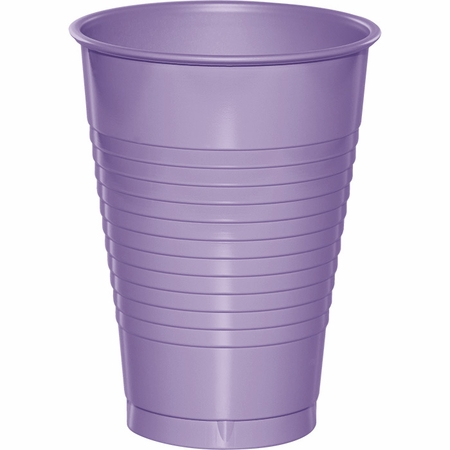 Touch of Color Luscious Lavender 12 oz Plastic Cups in quantities of 20 / pkg, 12 pkgs / case