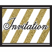 Black and Gold Invitations 48 ct