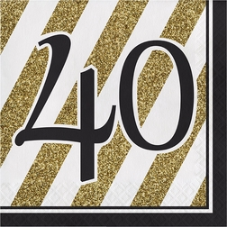 Black and Gold 40th Birthday Party Supplies
