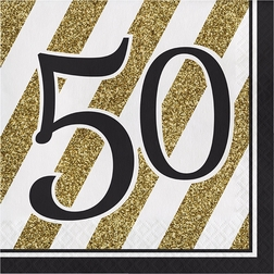 Black and Gold 50th Birthday Party Supplies