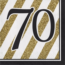 Black and Gold 70th Birthday Party Supplies