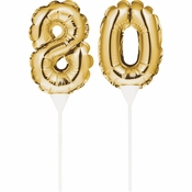 80 Gold Number Balloon Cake Toppers 24 ct