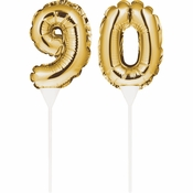 90 Gold Number Balloon Cake Toppers 24 ct