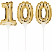 100 Gold Number Balloon Cake Toppers 36 ct