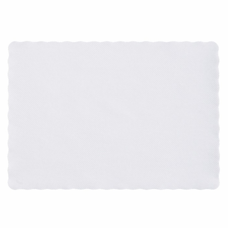 """White Scalloped 9.5"""" x 13.5"""" Placemat in quantities of 1,000 / case"""