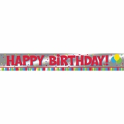 Happy Birthday Foil Banner 12 ct