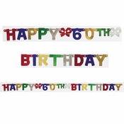 60th Birthday Party Banners 12 ct
