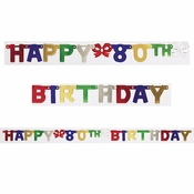 80th Birthday Party Banners 12 ct