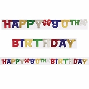 90th Birthday Party Banners 12 ct