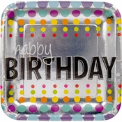 Silver with multicolored dots Birthday Pop Dinner Plates sold in quantities of 8 / pkg, 12 pkgs / case