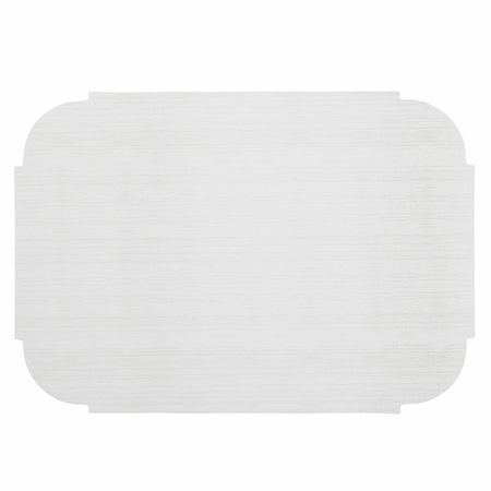 "White 9.75"" x 14"" Decorator Placemat, die cut edge with linenized feel in quantities of 1,000 / case. Flat pack."