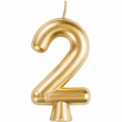 Gold Number 2 Candles 12 ct
