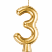 Gold Number 3 Candles 12 ct