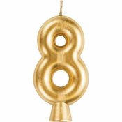 Gold Number 8 Candles 12 ct