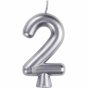 Silver Number 2 Candles 12 ct