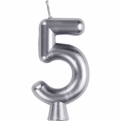 Silver Number 5 Candles 12 ct