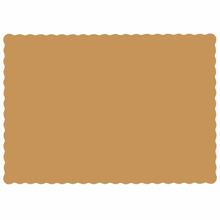 "Glittering Gold 9.5"" x 13.5"" Economy Paper Placemat, flat packed in quantities of 1000 / case"