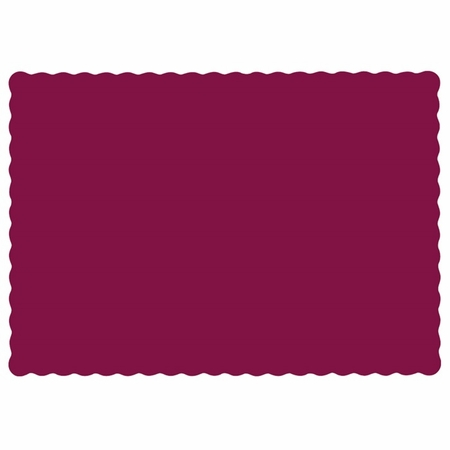 """Burgundy 9.5"""" x 13.5"""" Economy Paper Placemat, flat packed in quantities of 1000 / case"""
