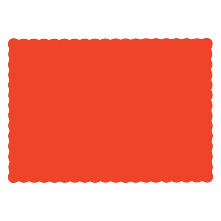 """10"""" x 14"""" Scalloped Bittersweet Orange Paper Placemats 1,000 ct"""