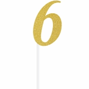 Gold Glitter #6 Cake Toppers 12 ct