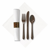 Linen-Like Earthtone CaterWrap with Chocolate Cutlery in quantities of 50 / pkg, 2 pkgs / case