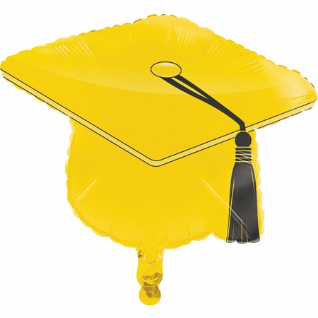 Yellow Graduation Cap Mylar Balloons 10 ct