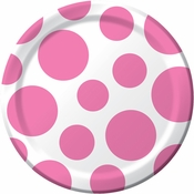 Candy pink and white Polka Dots Dessert Plates measure 6.875 inches and are sold in quantities of 8 / pkg, 12 pkgs / case
