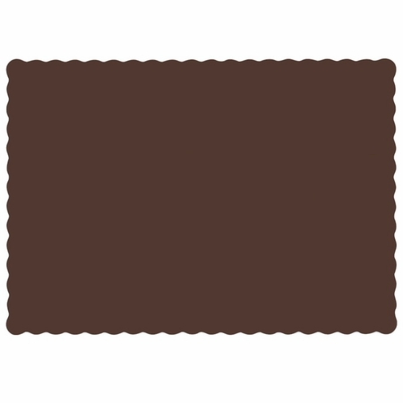"Chocolate 9.5"" x 13.5"" Economy Paper Placemat, flat packed in quantities of 1000 / case"