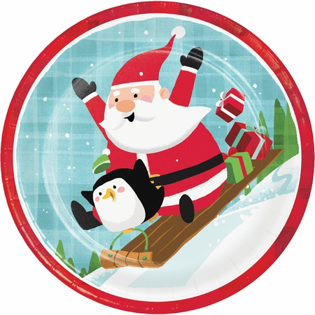 Santa and Penguins Dinner Plates 96 ct