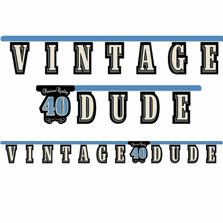 """Vintage Dude Party Banner """"40"""" 12 ct"""